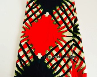 African Fabric by the yard /African textiles /Ethnic fabric / African Clothing supplies/  Red, Olive Green  WP69B