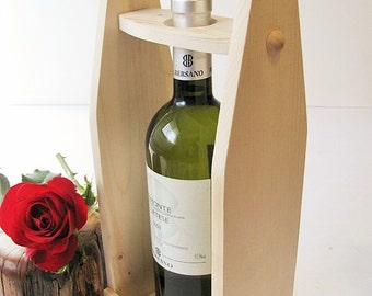 Wood wine carrier Wine tote Unfinished economy