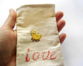 Cotton phone pouch / baby chick iphone5 case / love iphone4 pouch / samsung S3 / iphone 5 wallet / fabric iphone case / cloth iphone pouch