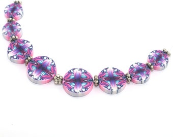 Pink and purple kaleidoscope flat round beads, unique beads pattern, Set of 8 polymer clay beads