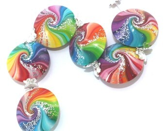 Unique and spiral Focal beads, colorful swirl lentil beads with tiny silver dots, Polymer Clay beads in rainbow colors, 6 Elegant beads
