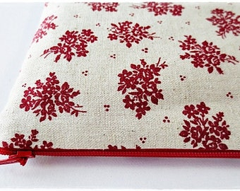 Large zip pouch cosmetic travel pouch red rose japanese cotton linen