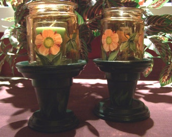 Poppy Clay Pot Candle Holders for Deck or Patio or Anywhere