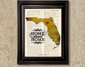 """Dictionary Art Print: - """"Florida - Home Sweet Home """" - up-cycled vintage book page, Customized State of Florida art print"""