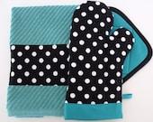 Black & White Polka Dot Turquoise Teal Oven Mitt Pot Holder Set with optional towel