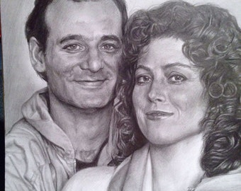 Original Drawing of Bill Murray and Sigourney Weaver in Ghostbusters (NOT a print)