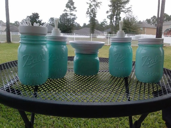 ball mason jar bathroom set white and mint green full