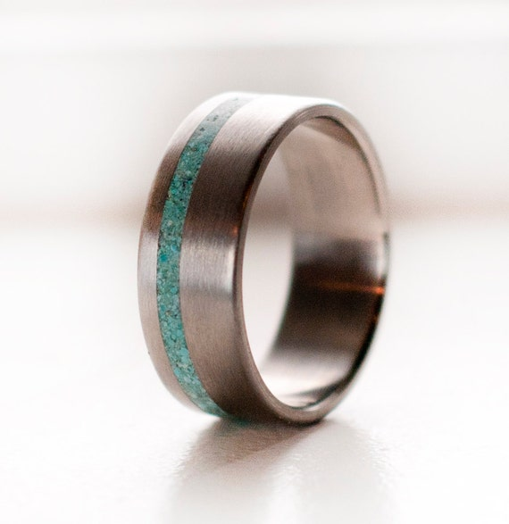 Mens wedding band titanium and turquoise ring by for Mens turquoise wedding rings