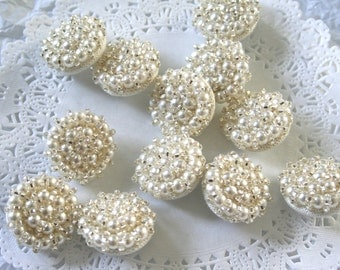 2 Vintage Glass Beaded Pearl Buttons,  Shank Buttons, SILVER & PEARL