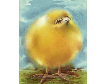 Chicken Fabric - Fluffy Yellow Chicken - Repro Vintage Image