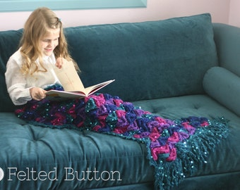 Crochet Pattern, Mermaid Me Blanket, Girl, Toddler, Child