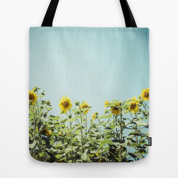 TOTE BAG Sunflowers - Summer Decor Bag - Teal Blue and Yellow Print - Valentine's Gift for Her - Nature Photography - Love - Sun - Flowers