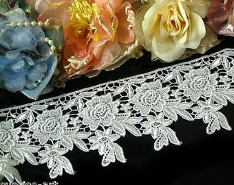 """DN366-4"""" White flowers Rose Venise Lace Trim by yard"""