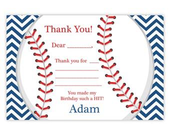 Baseball Thank You Card - Adorable Navy Blue Stripe Chevron Baseball Ball Personalized Birthday Party Thank You - a Digital Printable File