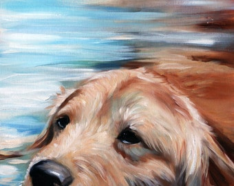 PRINT Golden Retriever Hunting Dog Swim lover Art Signed by Mary Sparrow Water Pool Pet