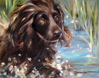 """PRINT Boykin Spaniel Swimming Dog Art Print of oil Painting Gift / Mary Sparrow of Hanging the Moon """"SPLASH"""""""