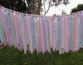 Shabby Chic pink and aqua photo prop, party decor, banner YOU CHOOSE COLORS