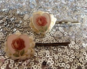 Hearts with flowers bobby pins - thefrolickingfrog