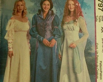 "Renaissance Princess Costumes -McCall's Pattern 3797 Uncut Size  6-8-10-12  Bust 30.5-31.5-32.5-34"""