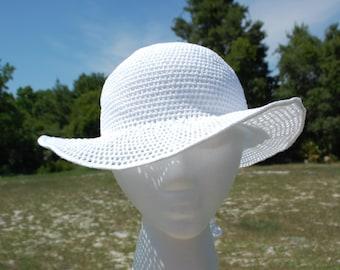 FREE SHIPPING Chroshet white cotton summer hat