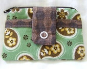 Change Purse Card Wallet Small Zippered Coin Pouch  Green Brown Paisley Flowers 4x3.5