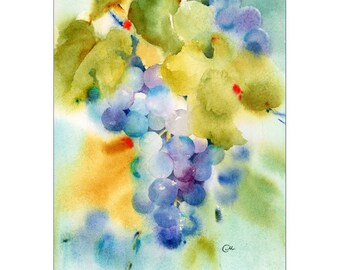 Watercolor Grapes Pinot Noir - Print 9x12 inches