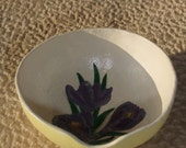 Tea Bag Bowl, Gourd, Purple Iris