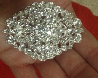 Wedding Bridal Brooch Bouquet Pin Crystal Rhinestone Large 2.5""