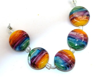 Pearly Karpel Lampwork button Bead Colorful vortex (5) SRA