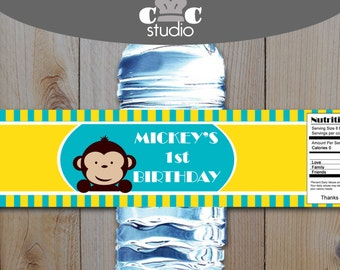 Mod Monkey Water Bottle Labels - Boy's Turquoise and Yellow Mod Monkey Party Printables - Birthday, Baby Shower