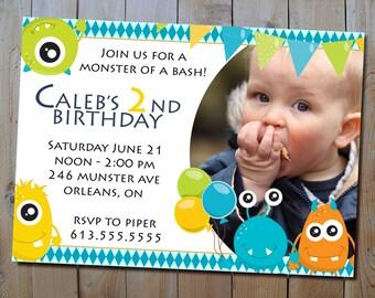 Monster Bash Birthday Invitation - Digital Boy's Monsters Birthday Party Printable Invitation