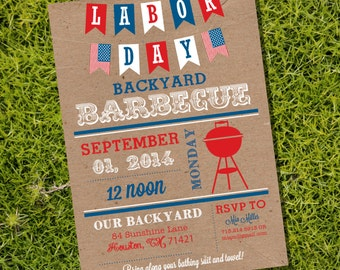Labor Day BBQ Invitation - Labor Day Party - Summer Cookout Invitation - Instant Download and Edit with Adobe Reader - Print at Home!