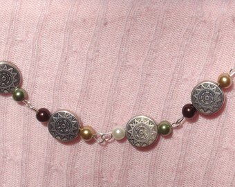 Aztec designed silver discs with pearls Bracelet  American Indian made