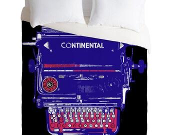 Antique Typewriter Duvet Cover / Twin, King Queen Size Duvet / Typewriter Blanket / Typewriter Duvet / Typewriter Bedding / Hipster Duvet