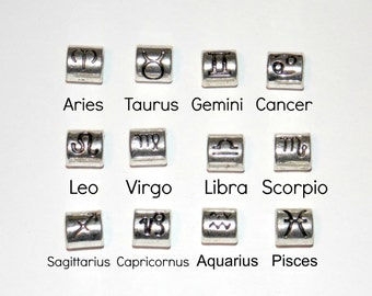 Zodiac Symbol Paracord Beads 4 to 5mm Large Hole Aries Taurus Gemini Cancer Leo Virgo Libra Scorpio Sagittarius Capricornus Aquarius Pisces