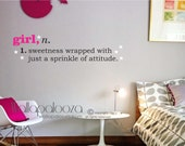 Girl Definition Wall Decal - Girls room wall decal - kids playroom decal - Girl decal