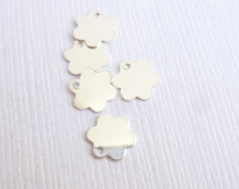 Sterling Silver 7mm Flower Stamping Blanks  -- Five Pieces