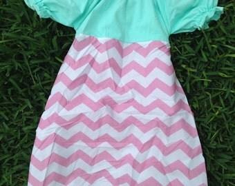 Aqua and Pink Chevron Dress