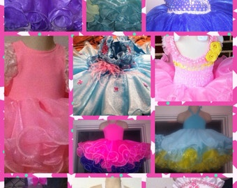 Custom made glitz pageant babydoll dress