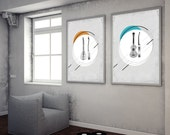 Wall Decor Set of 2 Vintage Instruments Musical Prints