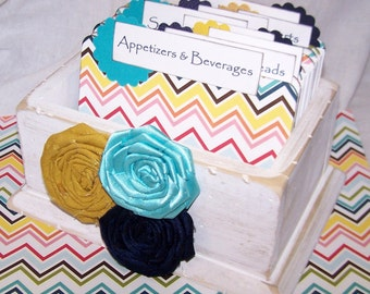 RECIPE BOX, Dividers, Recipe Cards, Wooden Recipe Box, White Box, Chevron Dividers, Navy, Yellow, Teal