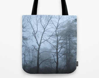 Tote Bag with Winter Trees and Fog Photo, nature tote bag, photo tote bag, tree tote bag, trees tote bag, trees and fog, bare winter trees