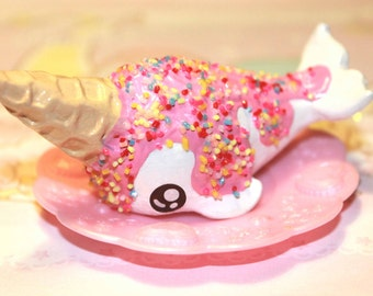 PREORDER-Kawaii cute chibi Ice Cream Narwhal with sprinkles on top