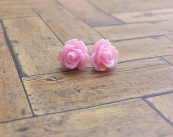 Light Pink Rose Stud Earrings - Sterling Silver Posts