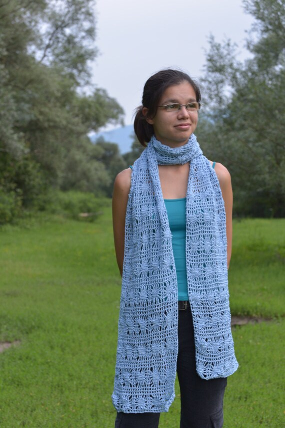 Blue Summer Large Scarf unique handmade - cotton and viscose crochet
