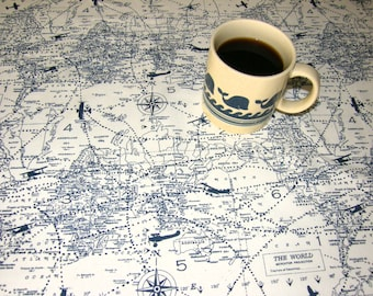 "Airplane World Map Table Cloth - White with blue airplanes and countries - Cotton 54"" square"