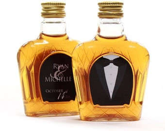 Custom Crown Labels, Wedding Favors, 50 ml Mini Bottle Labels, Tuxedo
