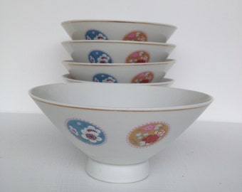 Vintage Rice Bowls Japanese or Soup Bowls, Set of 5