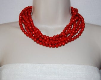 Red Statement Necklace Chunky Red  Turquoise Beaded Necklace Bold Multi-Strand Wedding Jewelry Bridesmaids Necklace