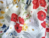 LINEN Curtain panel Natural linen Summer Meadow flowers Floral Decor Cafe curtain Kitchen valance , runner , napkins available, great GIFT